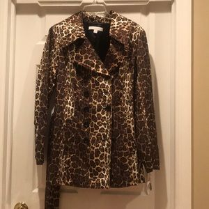 New York and Company Leopard Raincoat